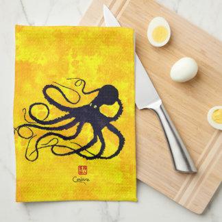 Sybille's Octopus On Yellow - Kitchen Towel