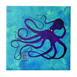 Sybille's Octopus R - Small Ceramic Tile