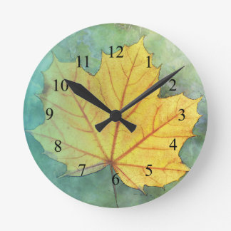 Sycamore Maple Autumn Leaf Round Clock