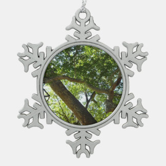 Sycamore Tree Green Nature Photography Pewter Snowflake Decoration