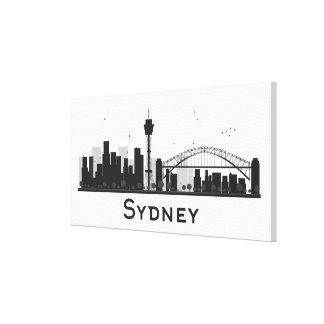 Sydney, Australia   Black & White City Skyline Canvas Print