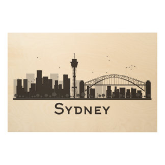 Sydney, Australia | Black & White City Skyline Wood Wall Art