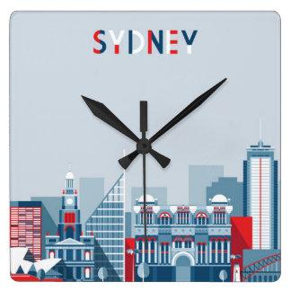 Sydney Australia City Skyline Square Wall Clock