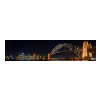 Sydney australia Harbour Bridge at night panorama Poster