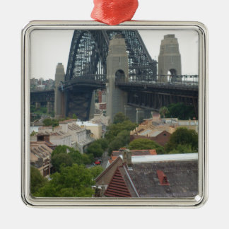 Sydney, Australia. Harbour Bridge. Silver-Colored Square Decoration