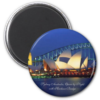 Sydney Australia, Opera by Night - Round Magnet