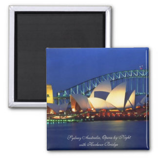 Sydney Australia, Opera by Night - Square Magnet