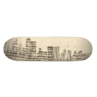 Sydney Australia Skyline Sheet Music Cityscape 21.6 Cm Old School Skateboard Deck