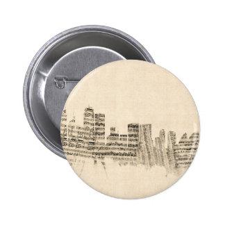 Sydney Australia Skyline Sheet Music Cityscape 6 Cm Round Badge