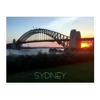 sydney bridge sunset postcard