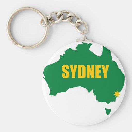 Sydney Green and Gold Map Keychain