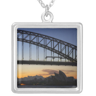 Sydney Harbor Bridge and Sydney Opera House at 2 Silver Plated Necklace