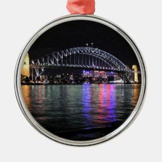 Sydney Harbor Bridge at Night Silver-Colored Round Decoration
