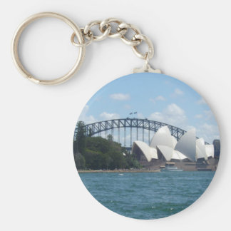 sydney harbour basic round button key ring