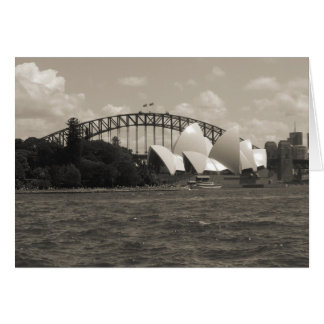 sydney harbour black white card