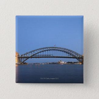 Sydney Harbour Bridge and Opera House at dusk 15 Cm Square Badge