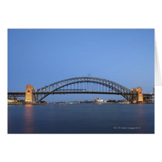 Sydney Harbour Bridge and Opera House at dusk Card