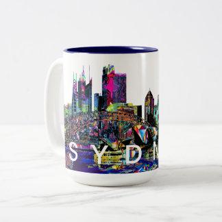 Sydney in graffiti Two-Tone coffee mug