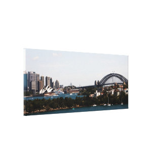 Sydney » Opera House & Harbour Bridge Canvas Stretched Canvas Print