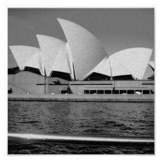 Sydney Opera House in Black and White Poster