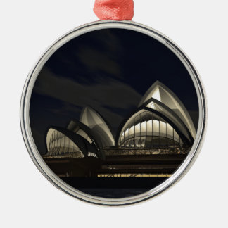 Sydney opera house Silver-Colored round decoration