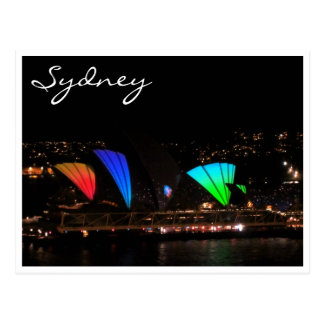 sydney opera vivid bright postcard