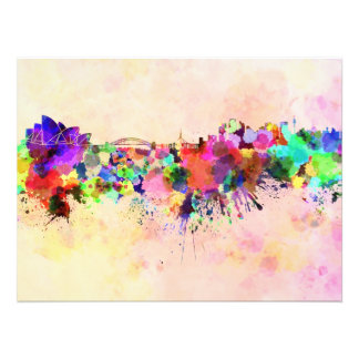 Sydney skyline in watercolor background photo print