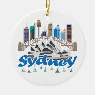Sydney Skyline Round Ceramic Decoration