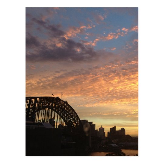 sydney sunset bridge postcard