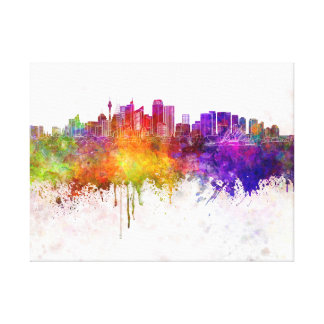 Sydney v2 skyline in watercolor background canvas print