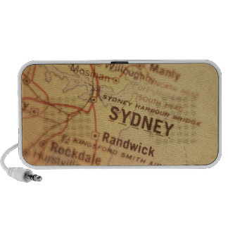 SYDNEY Vintage Map Doodle PC Speakers