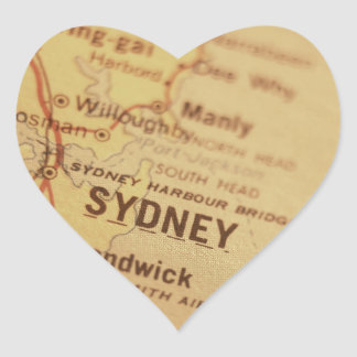 SYDNEY Vintage Map Heart Sticker
