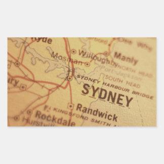 SYDNEY Vintage Map Rectangular Sticker