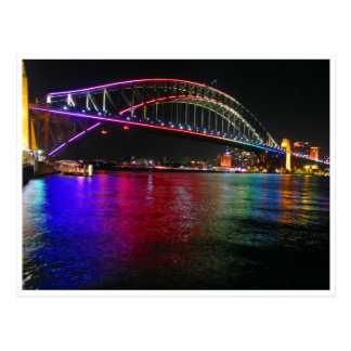 sydney vivid bridge lights postcard