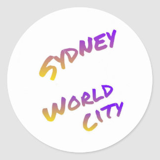 Sydney world city, colorful text art classic round sticker