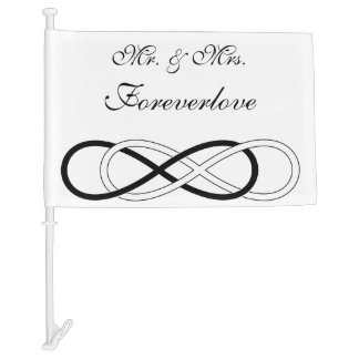 Symbol double Infinity - Black & White + backgr. Car Flag