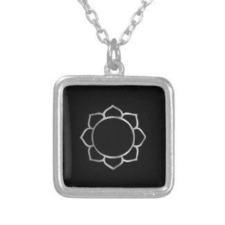 Symbol of Buddhism- Lotus flower Square Pendant Necklace