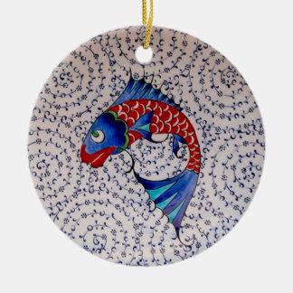 Symbol of Fortune Good Luck Koi Fish Round Ceramic Decoration
