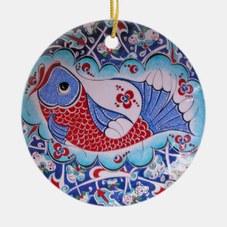 Symbol of Fortune / Lucky Fish Tile art Round Ceramic Decoration