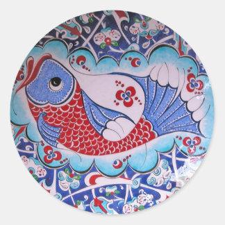 Symbol of Fortune / Tile art Classic Round Sticker