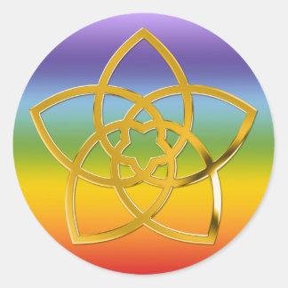 Symbol Venus Flower / GOLD | chakren color Round Sticker
