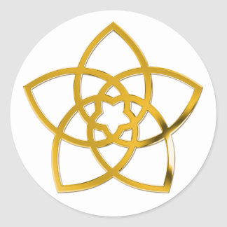Symbol Venus Flower GOLD Round Stickers