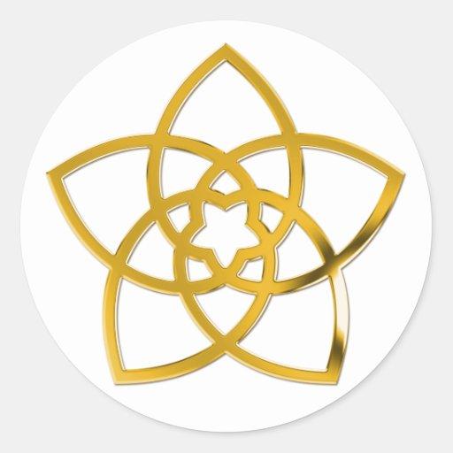 Symbol Venus Flower / GOLD Round Stickers