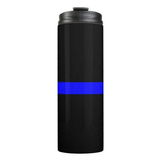 Symbolic Thin Blue Line graphic design on Thermal Tumbler