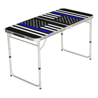 Symbolic Thin Blue Line US Flag graphic design on Beer Pong Table