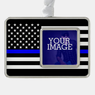 Symbolic Thin Blue Line US Flag Your Image on a Silver Plated Framed Ornament