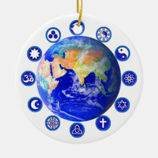 Symbols of peace, unity and religion christmas ornament