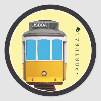 Symbols of Portugal - Lisbon Tramway Classic Round Sticker