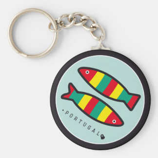 Symbols of Portugal - Sardines Basic Round Button Key Ring