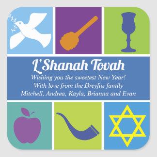 Symbols of Rosh Hashanah Square Sticker